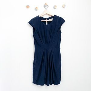 Amanda Uprichard Stella Silk Pleated Dress Blue M